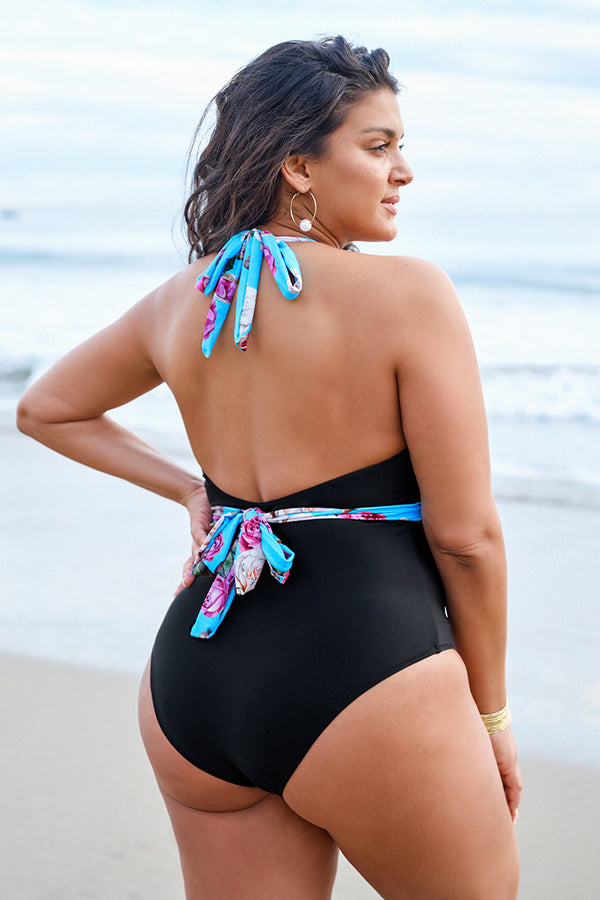 Floral and Black Halter Plus Size One Piece Swimsuit