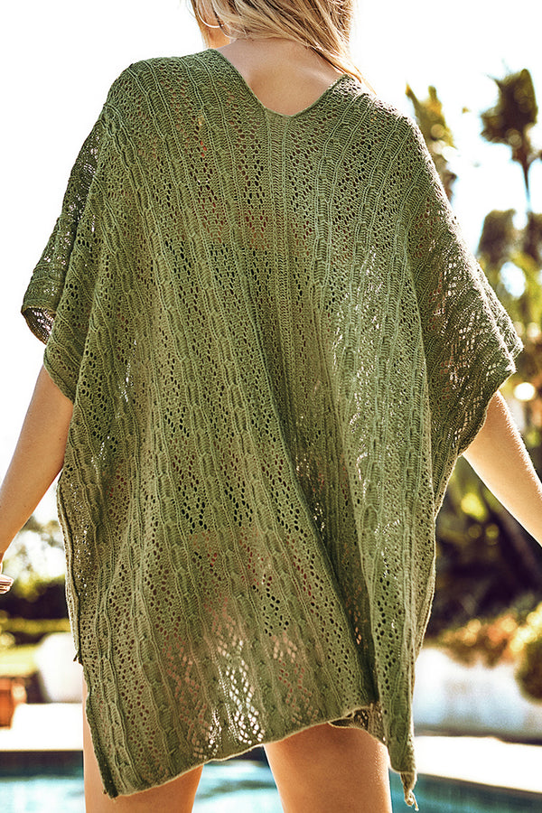 Olive Green Crochet Cover Up