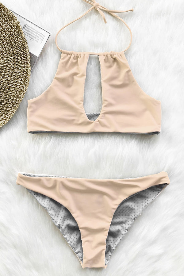 Reversible Pink and Grey Halter Bikini