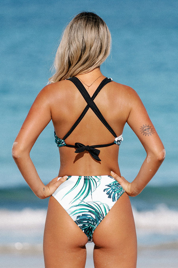 Tropical Leafy Criss Cross Back Bikini