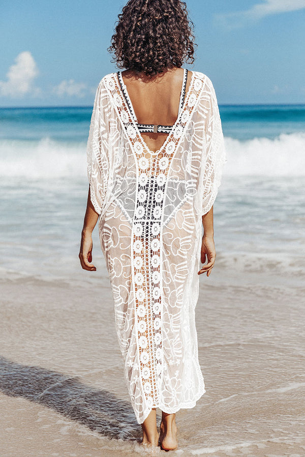 White Crochet V-neck Sheer Cover Up