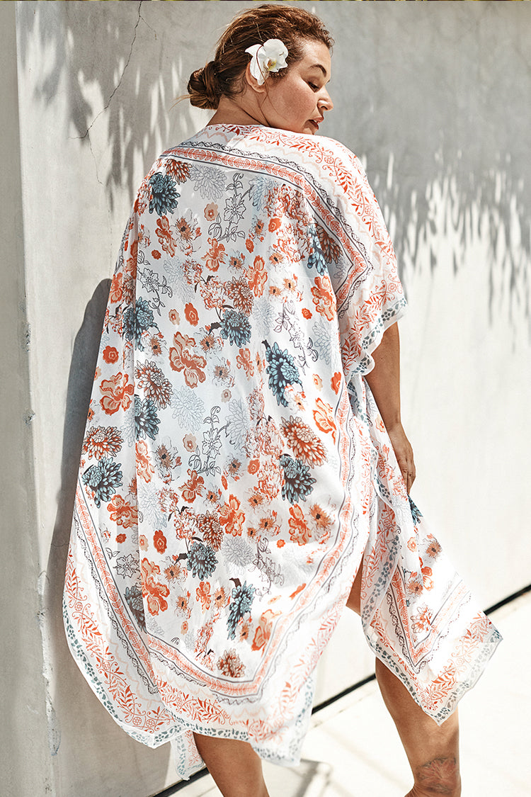 Floral Boho Print Plus Size Cover Up