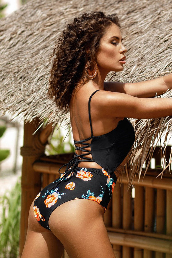 Black and Floral Lace Up One-Piece Swimsuit