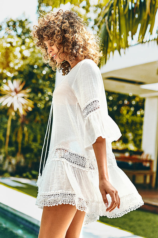 White Ruffled Tunic Cover Up