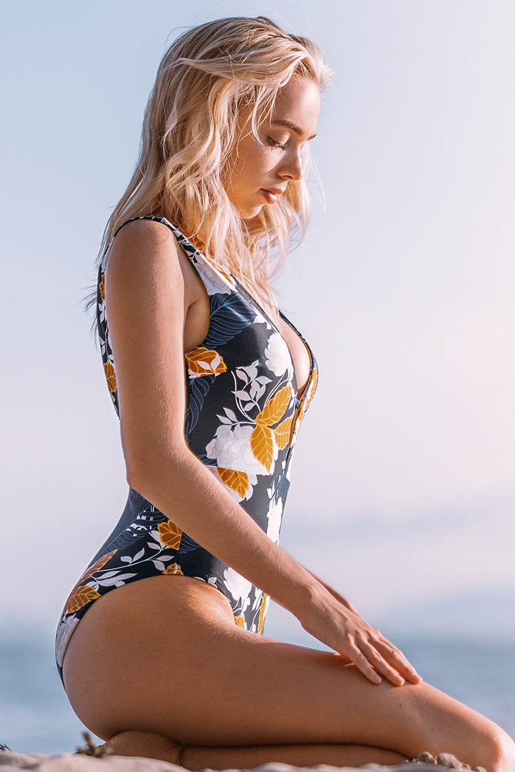 Autumn Floral Plunging Neckline One-Piece Swimsuit