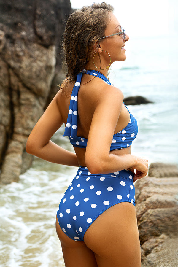 Knotted Blue Polka Dot High-Waisted Bikini