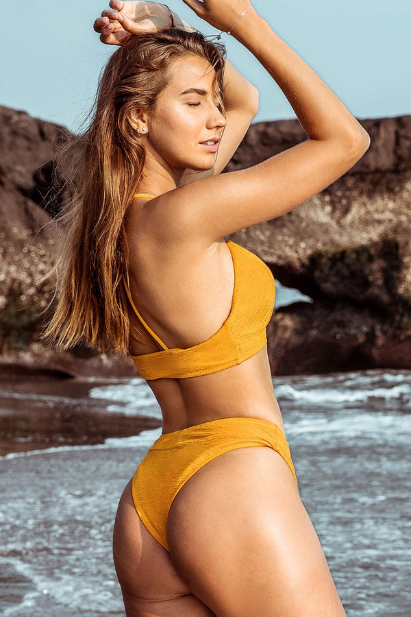 Yellow V-Neck Cheeky Bikini