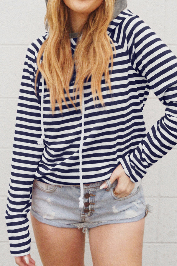 Stripe Hoodie with Pockets