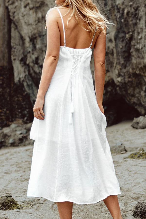 White Slip Dress with Pockets