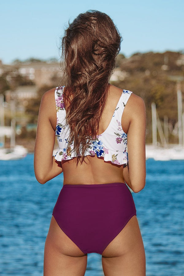 Floral Ruffled High-Waisted Bikini
