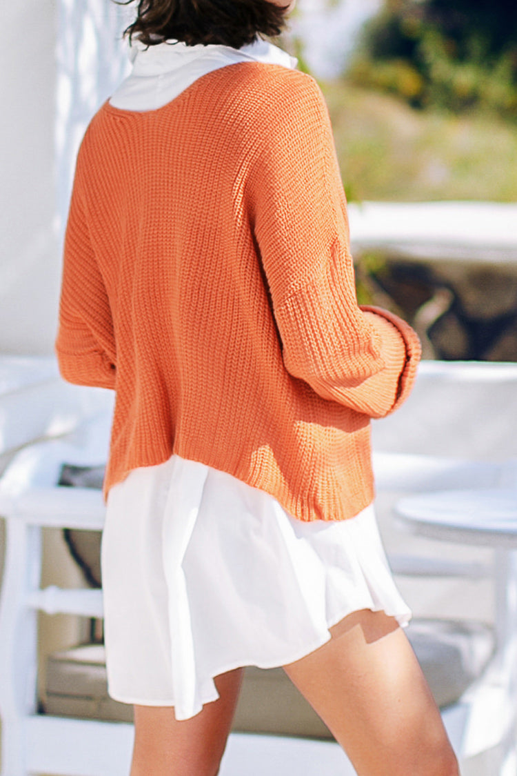 Orange Loose V-Neck Sweater