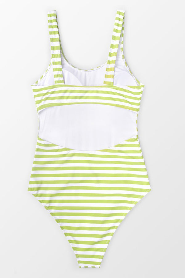 Avocado Green Stripe One-Piece Swimsuit