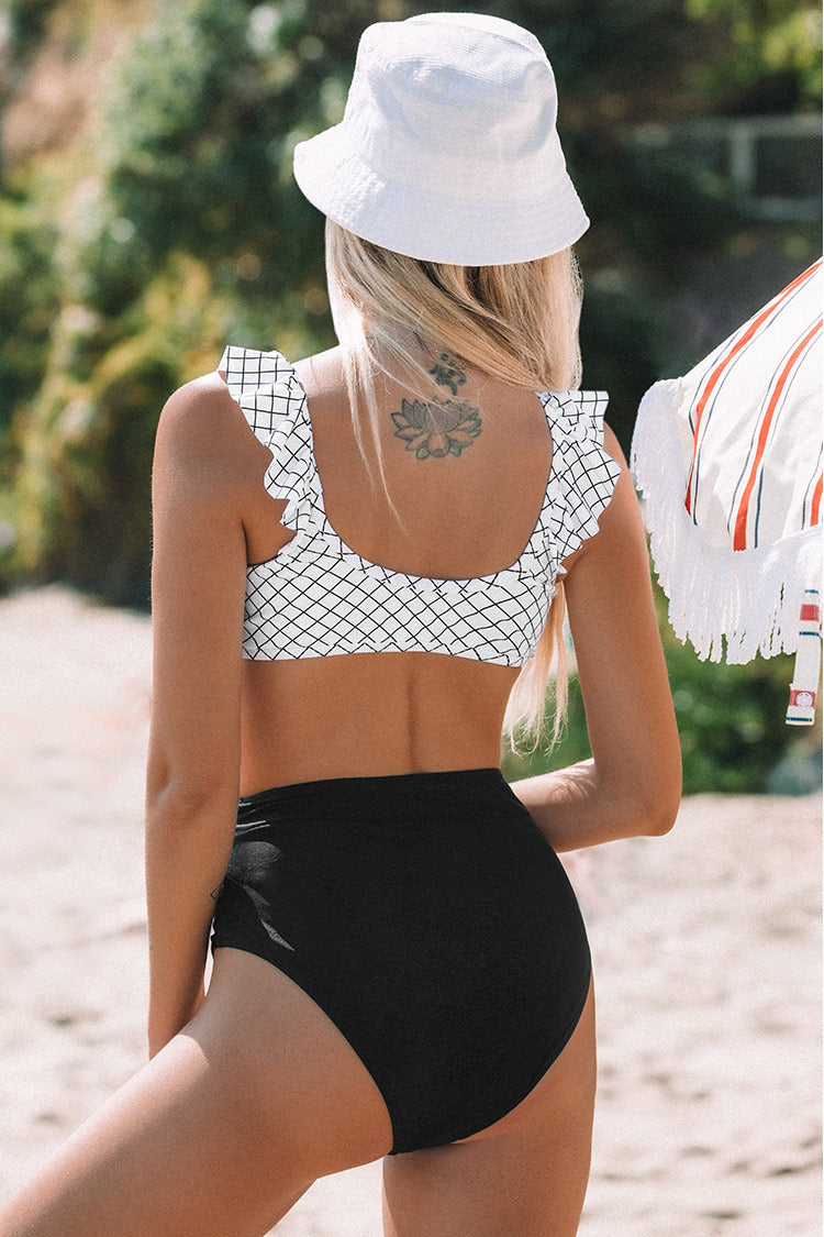 Black and White Windowpane Plaid High-Waisted Bikini