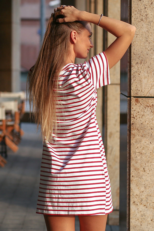 Red and White Stripe T-Shirt Dress