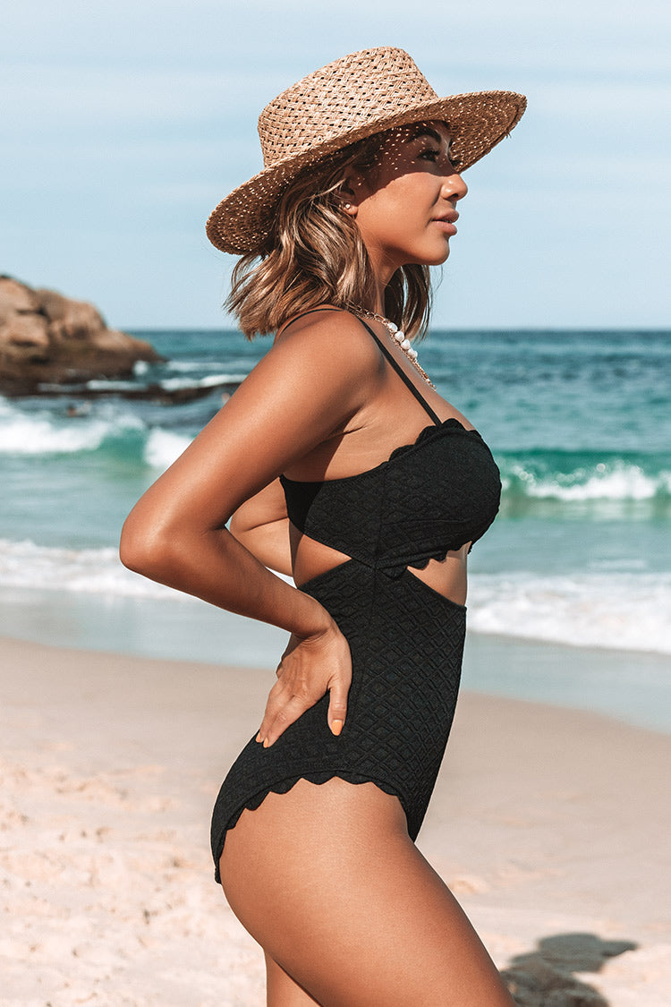 Black Knotted Scalloped One Piece Swimsuit