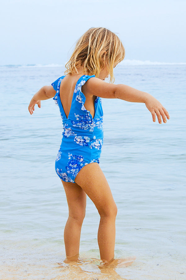 Blue Floral Print One-Piece Swimsuit for Toddler Girls and Girls