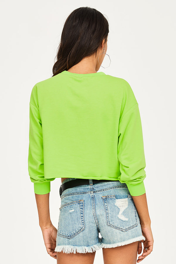 Lime Green Graphic Print Cropped Sweatshirt