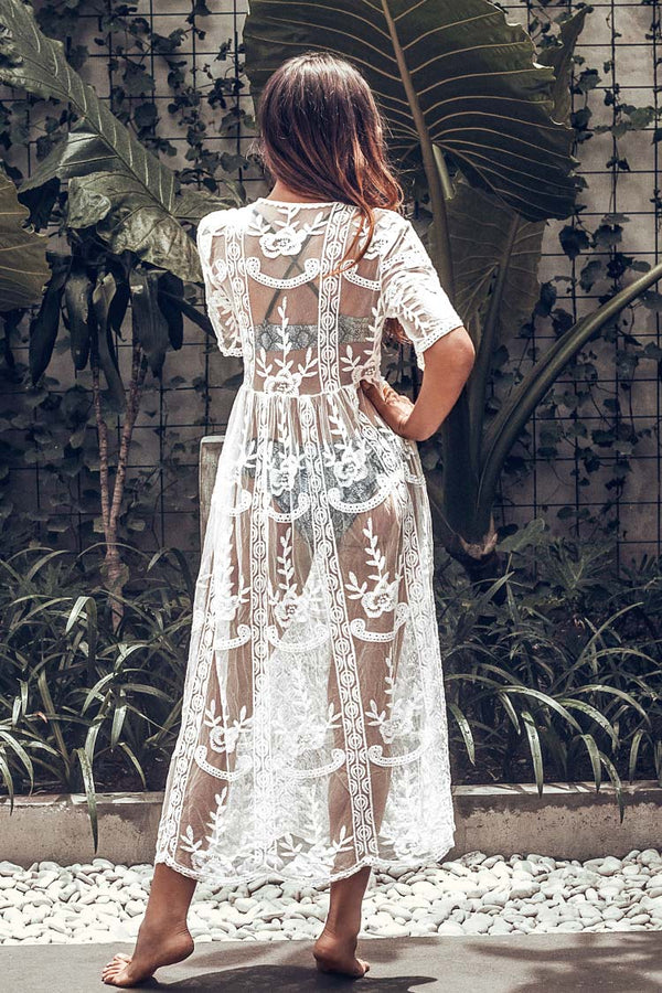 White Lace V-Neck Long Cover Up