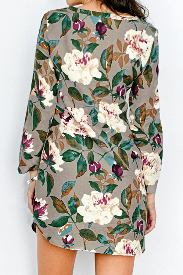 Floral and Leafy Long sleeve Short Dress