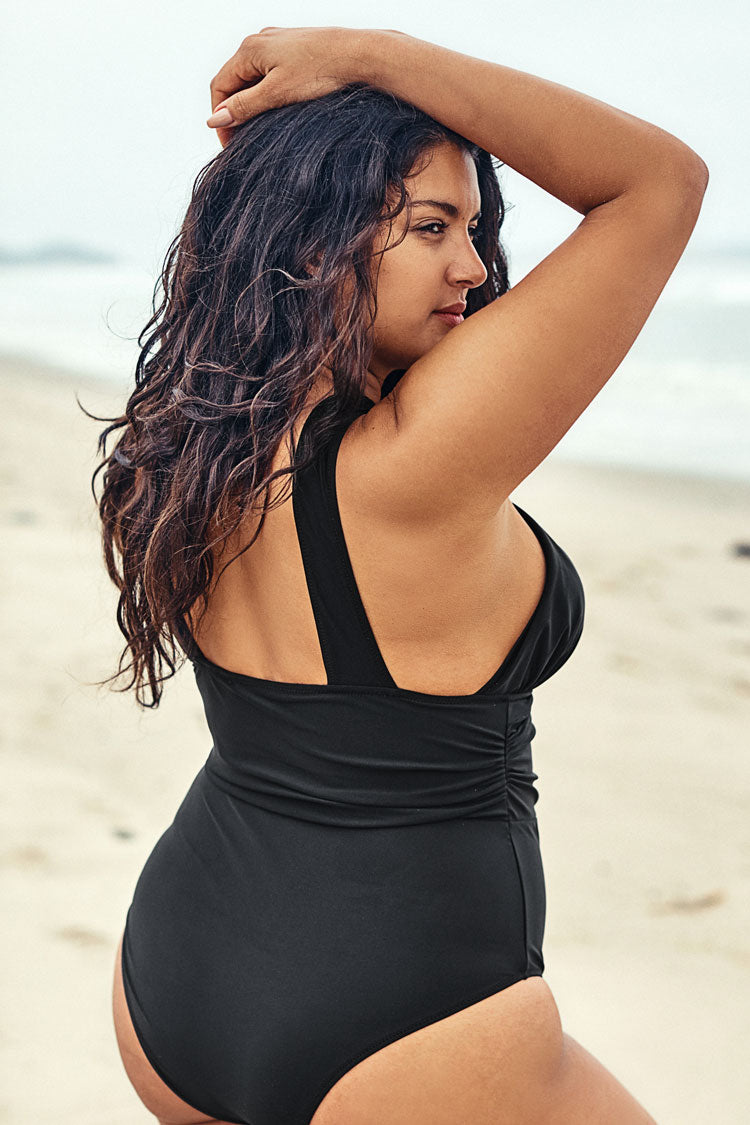Black Cross Plus Size One Piece Swimsuit