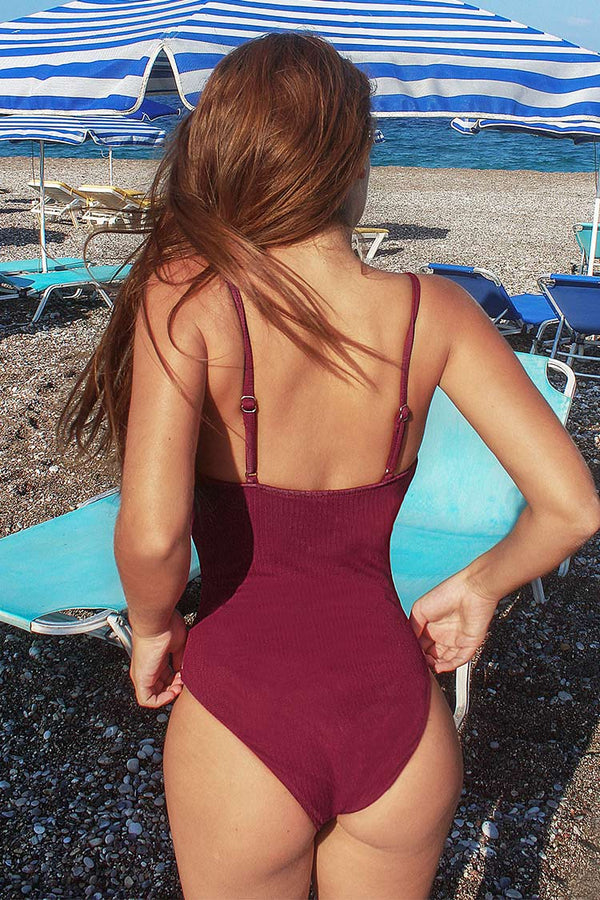 Dark Red Scalloped Edge One-Piece Swimsuit