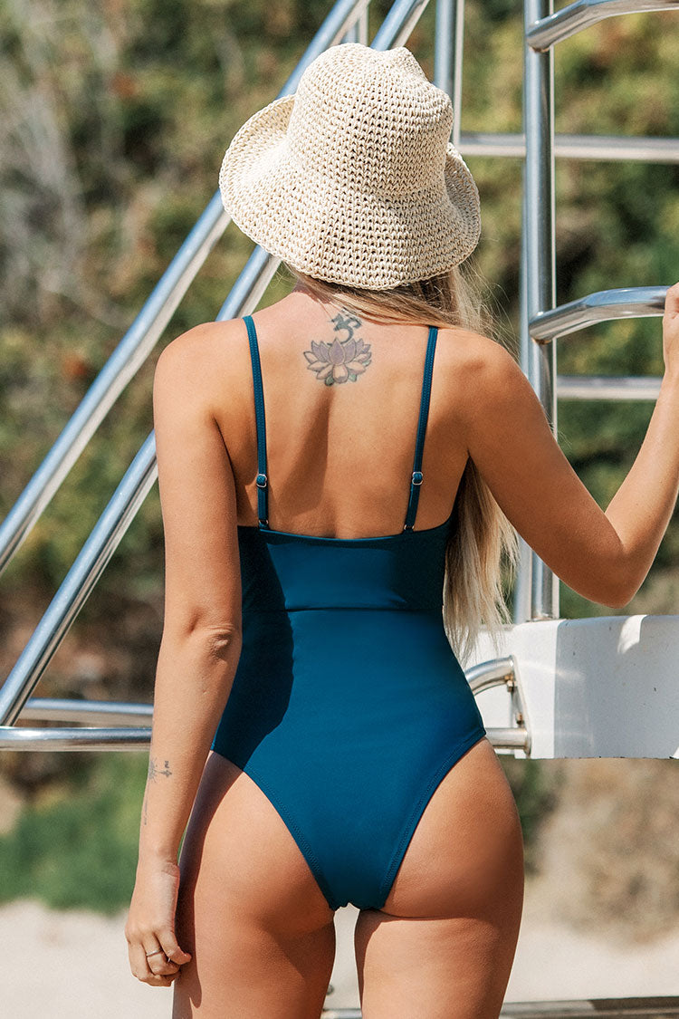 Dainty Floral Embroidery One Piece Swimsuit