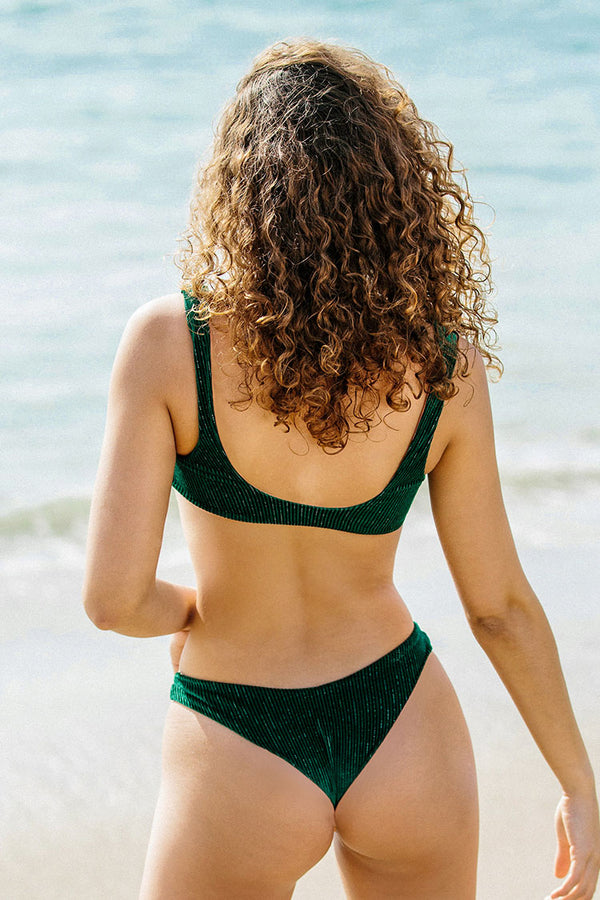 Green Velvet Knotted High-Leg Bikini