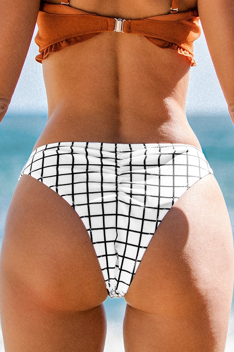 Black and White Patterned High Leg Bikini Bottom