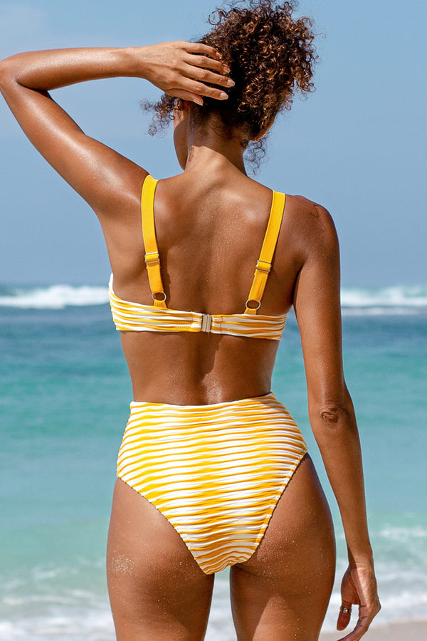 Yellow and White Abstract Print High Waisted Bikini