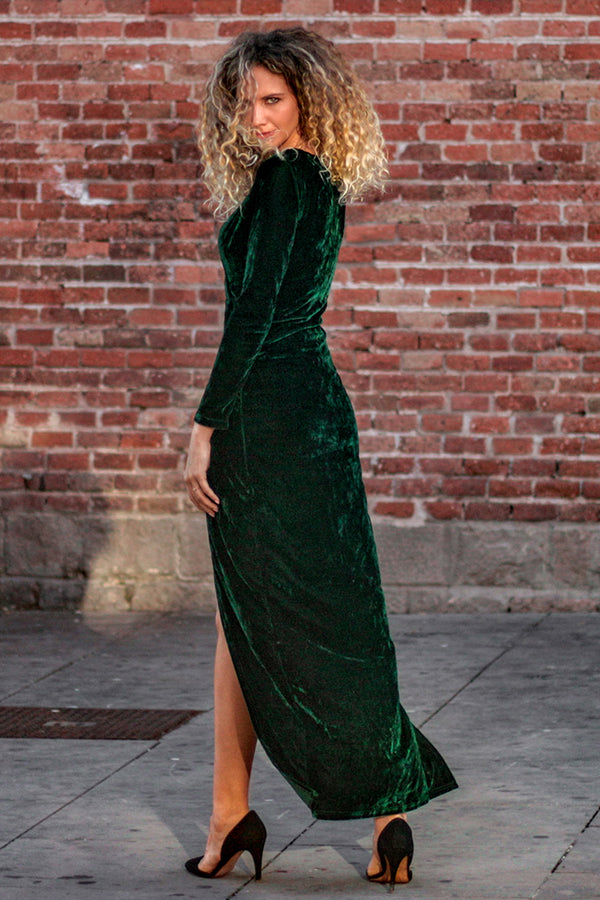 Green Asymmetrical Velvet Dress