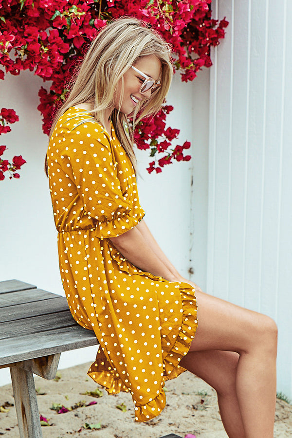 Yellow Polka Dot Ruffles Dress