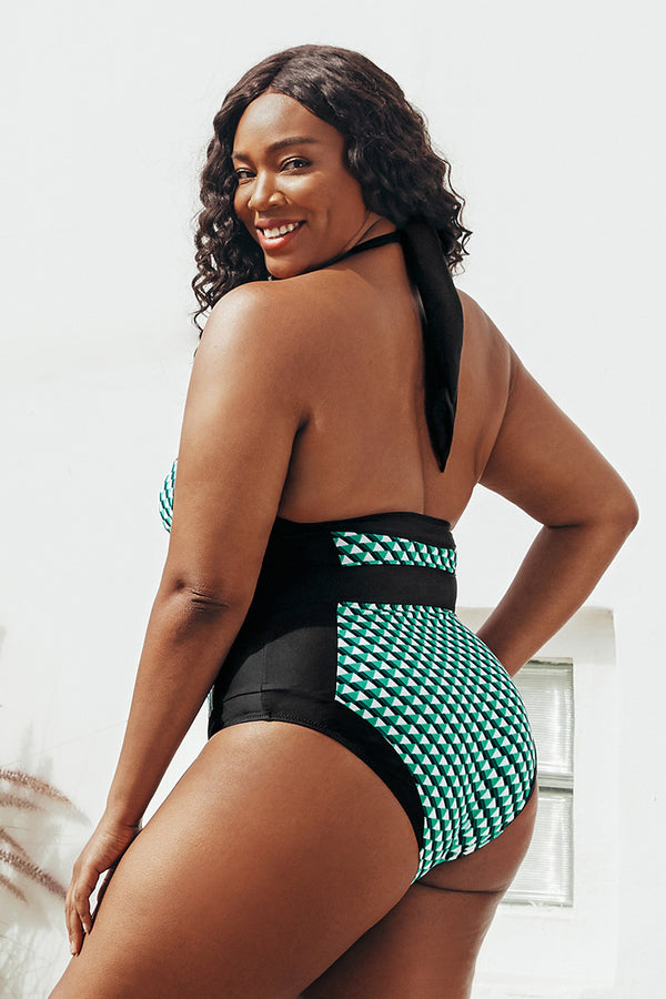 Geometric Print Halter Plus Size One Piece Swimsuit