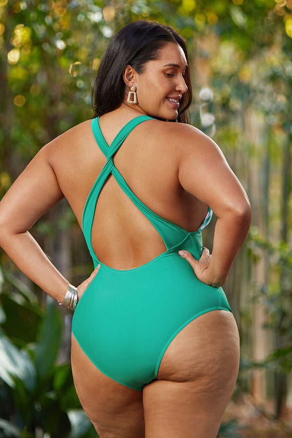 Daniella Gingham Criss Cross Plus Size One Piece Swimsuit
