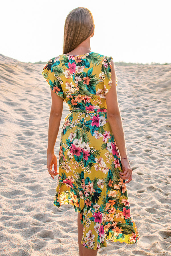 Hawaiian Floral Ruffle Midi Dress