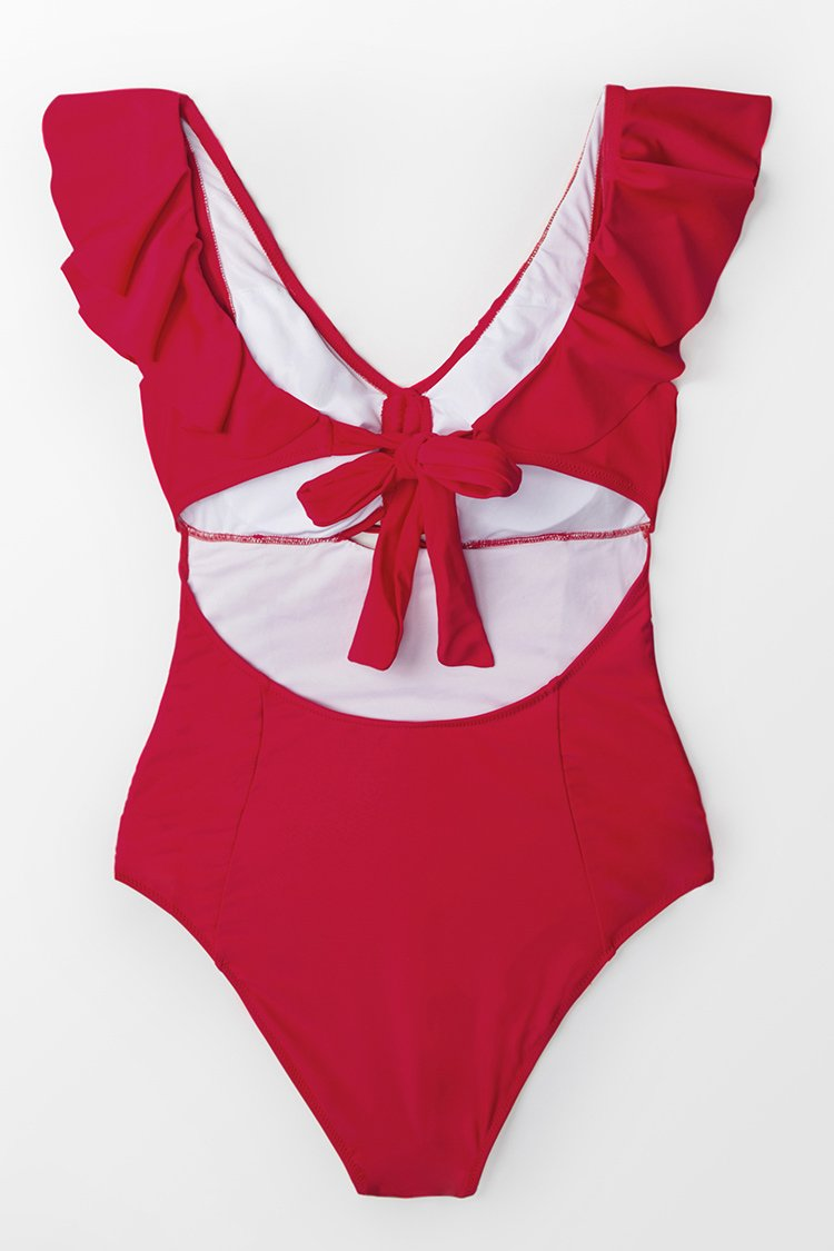 Ruby Red Ruffled One Piece Swimsuit