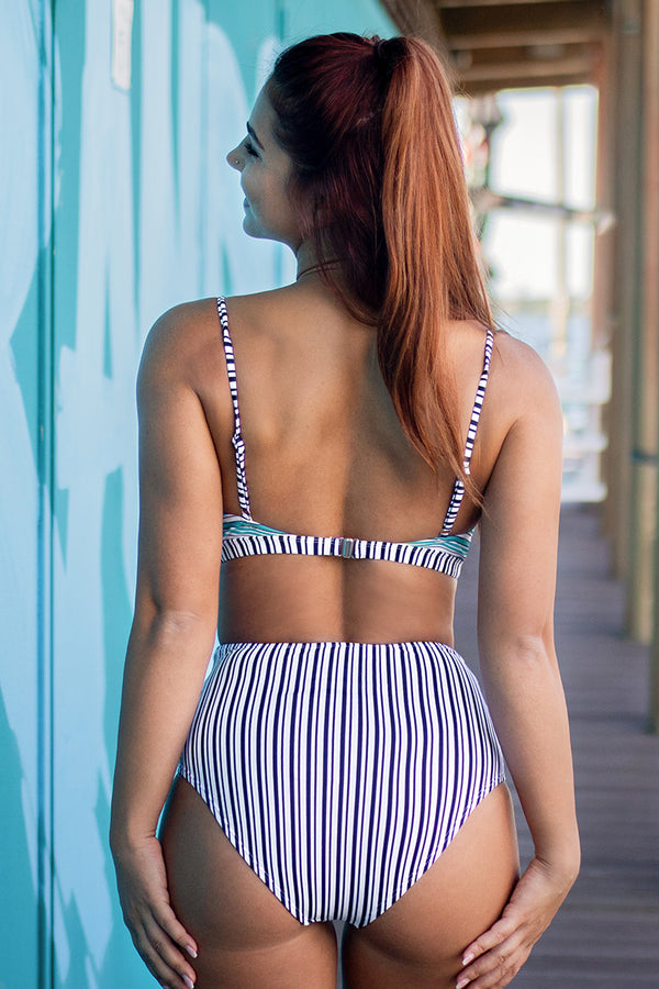 Dainty Ruffle Trimmed Striped Bikini
