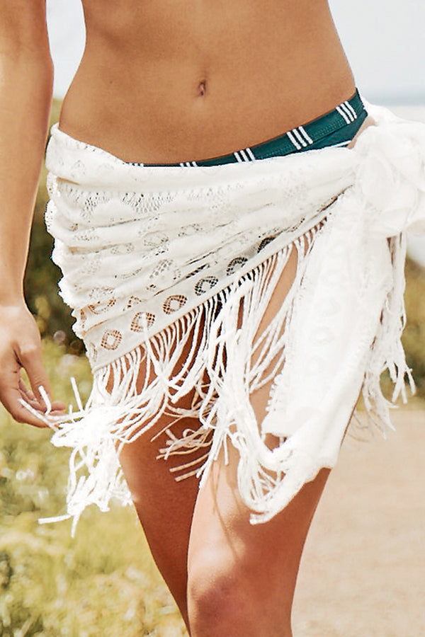 Sexy White Lace Cover Up With Tassel