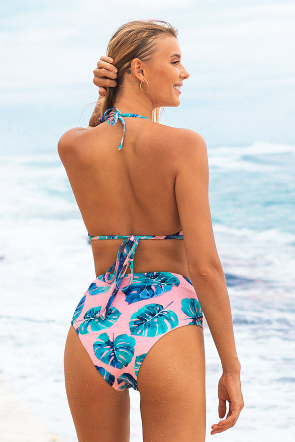 Tropical Ruffle Halter High Waisted Bikini