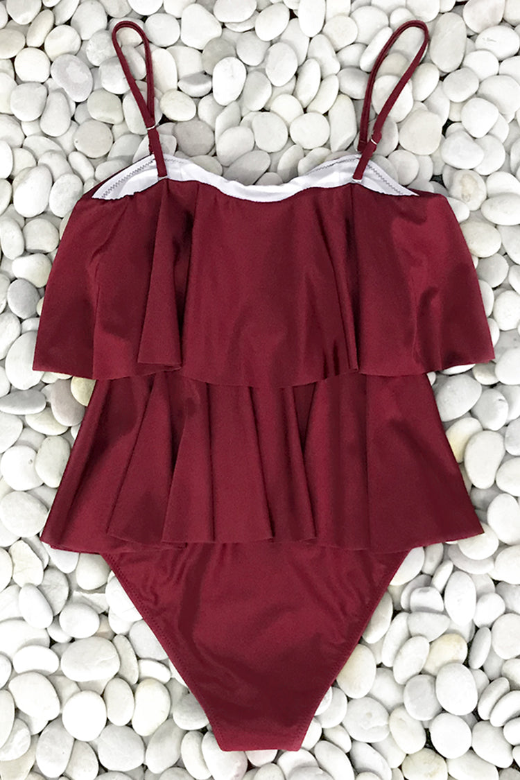 Double Flounce Burgundy One-Piece Swimsuit