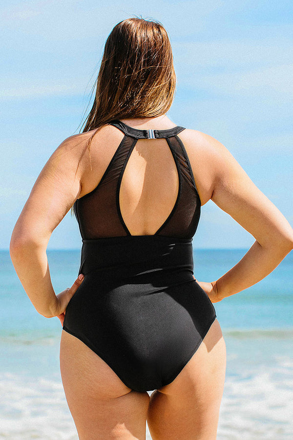 High Neck Mesh Plus Size One Piece Swimsuit