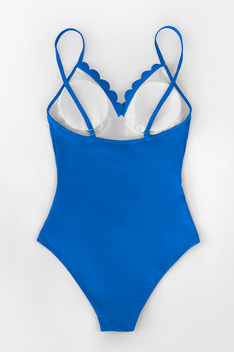 Blue Scallop Trimmed One Piece Swimsuit
