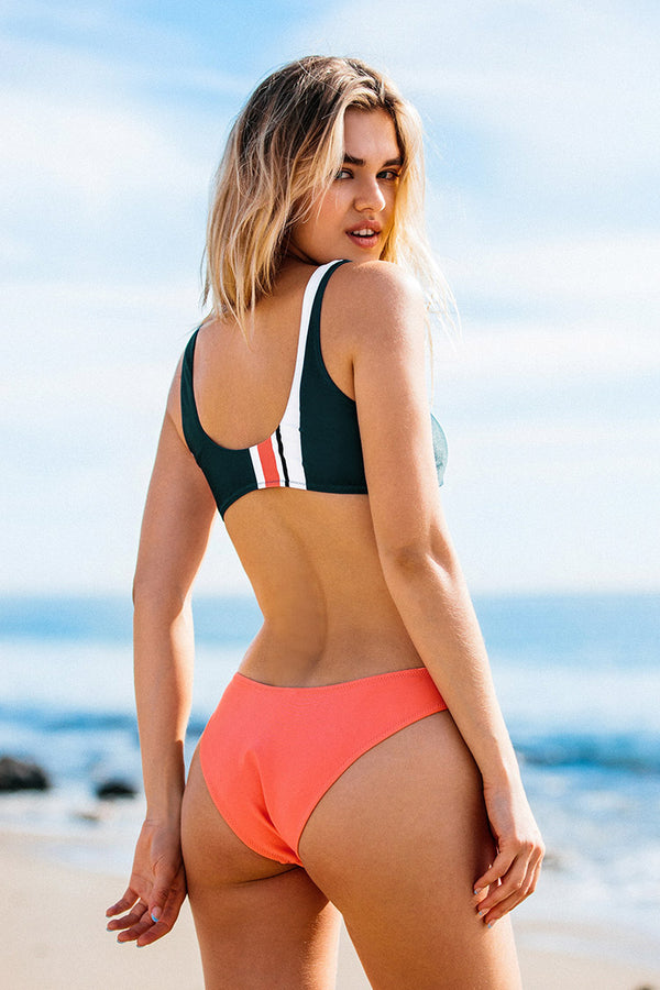 Sporty Colorblock knotted Bikini