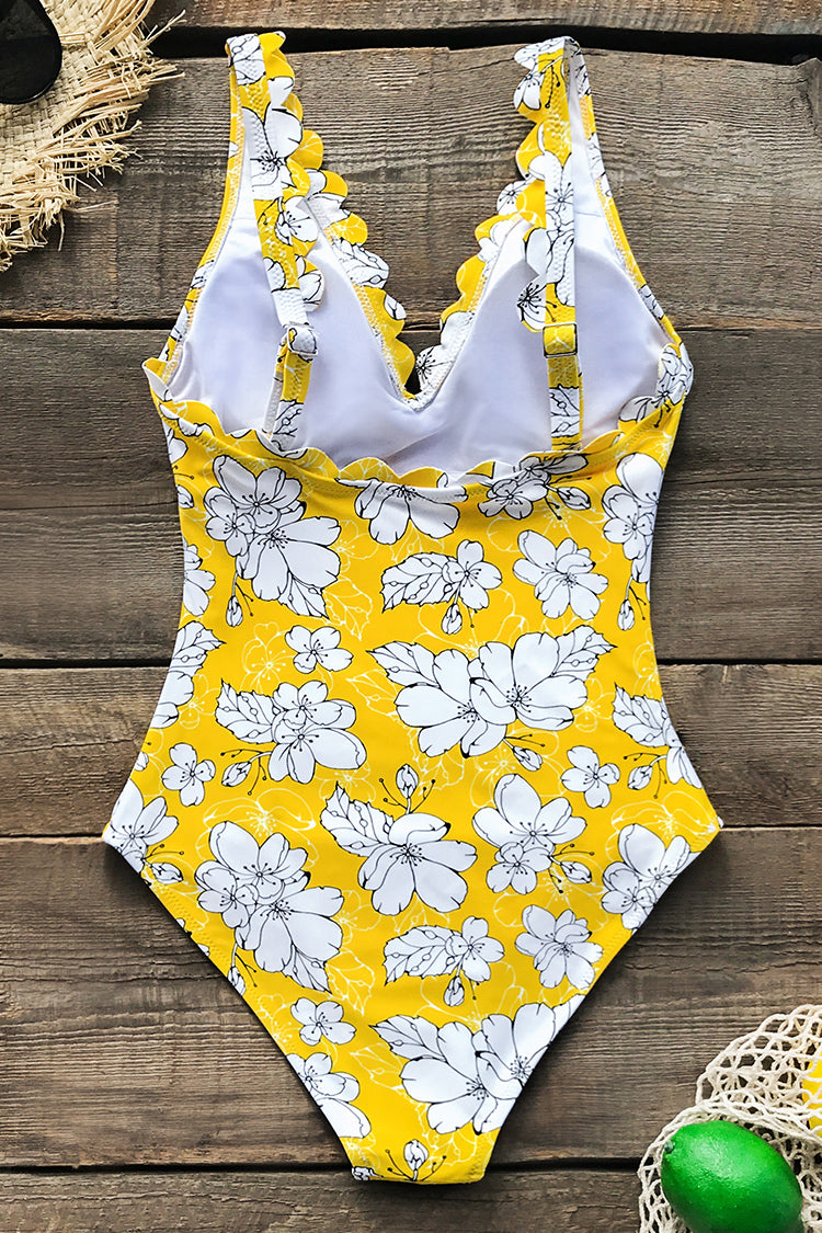 Yellow Floral Print Scallop Trimmed One-Piece Swimsuit