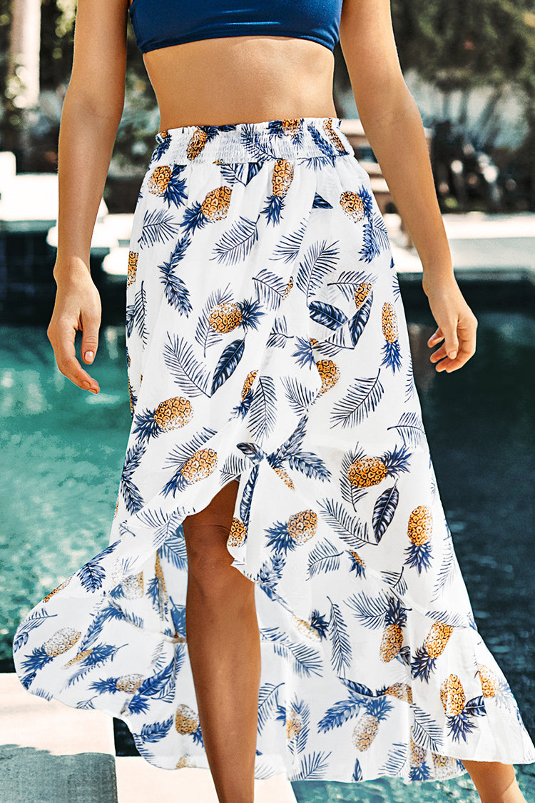 Leaf and Pineapple Print Maxi Skirt