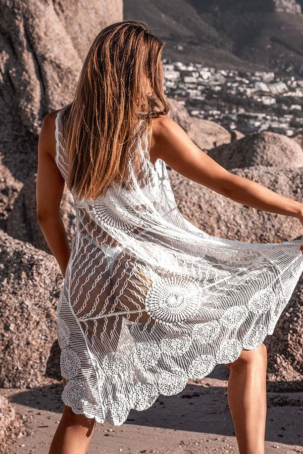 White Crochet High-Low Cover Up