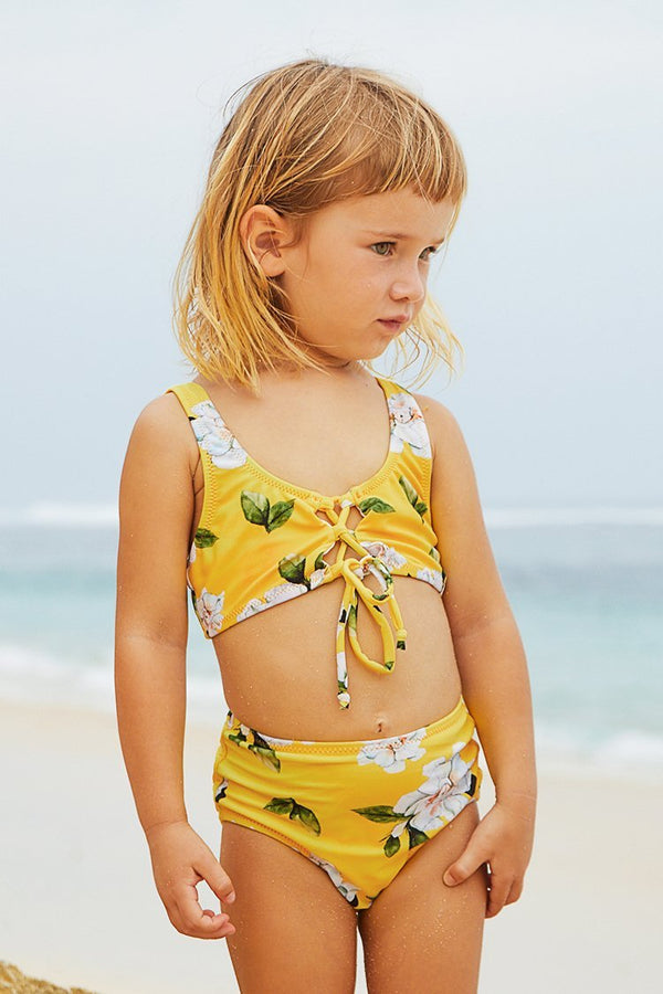 Yellow Floral Printed Front Tie Bikini for Toddler Girls and Girls