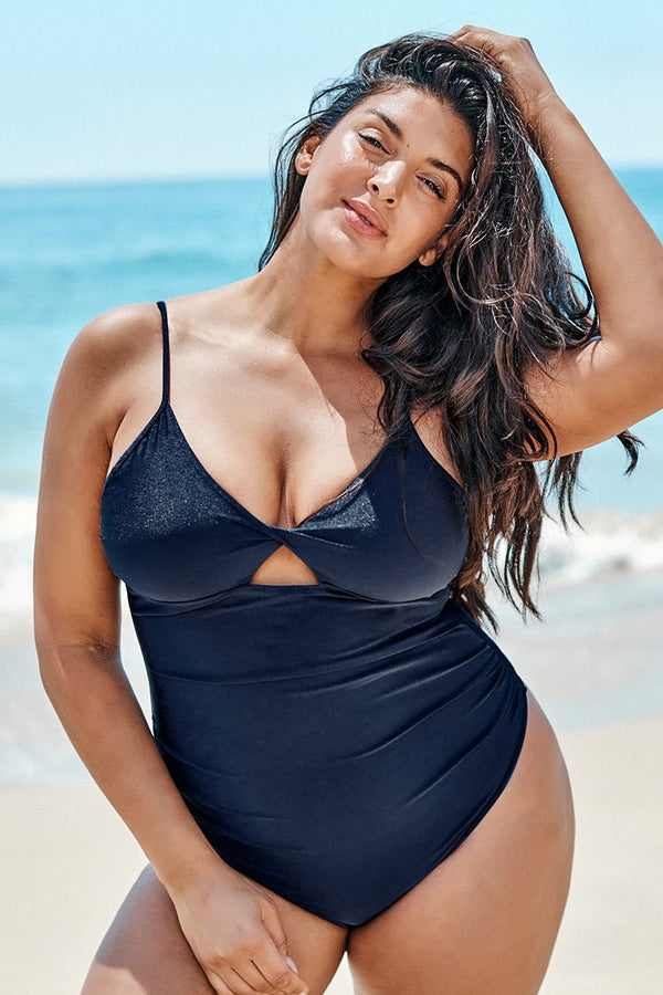 Navy Twist Front Plus Size One Piece Swimsuit