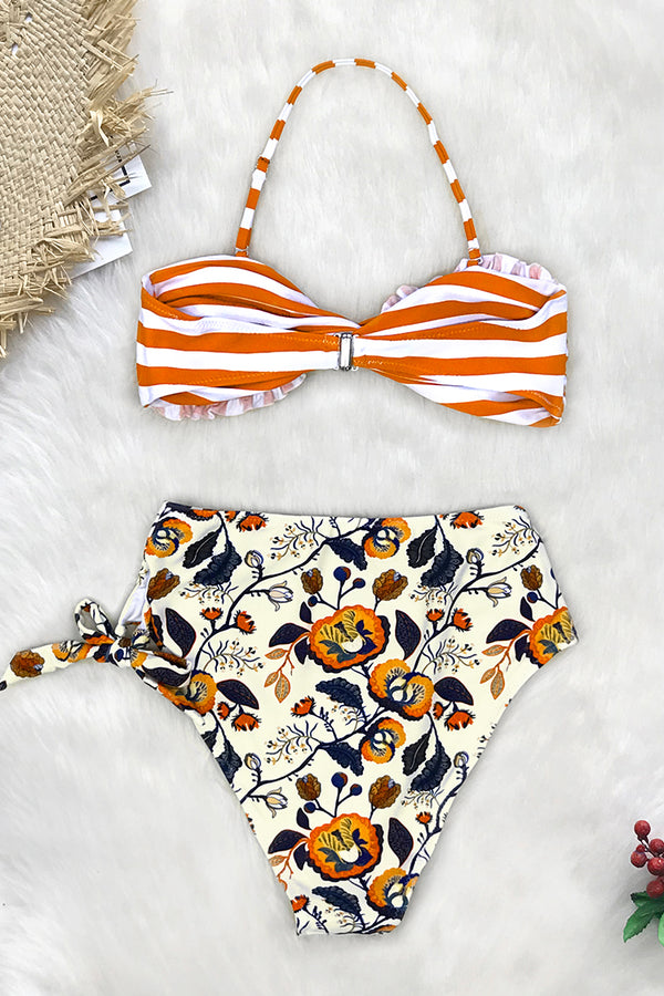Orange Striped And Floral High-waisted Bikini