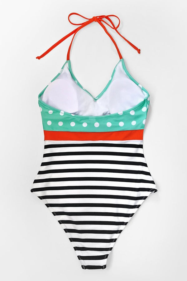 Polka Dot and Striped Halter One-Piece Swimsuit