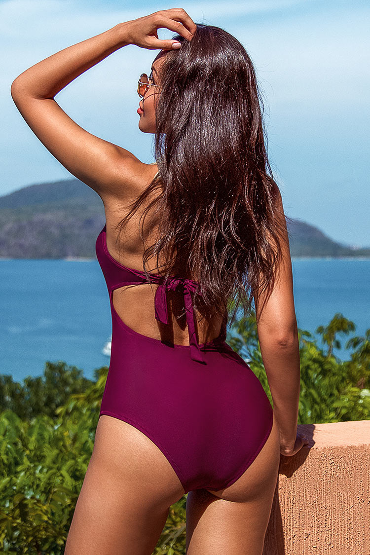 Broken Wine Halter One-piece Swimsuit